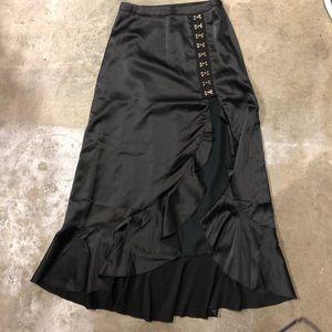 Dolls Kill Black Satin Skirt